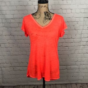[Athleta] Neon Orange Burn Out V Neck Tee